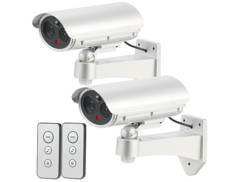 2 caméras de surveillance factices avec détecteur infrarouge et fonction alarme