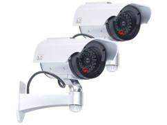 2 caméras de surveillance solaires factices avec signal LED