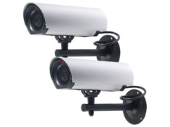 2 caméras factices à LED en aluminium