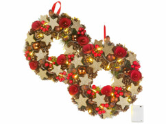 2 couronnes de Noël sans fil avec 20 LED - 28 cm