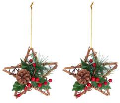 2 étoiles décoratives Ø 15 cm en rotin et véritable pommes de pin