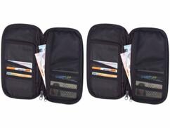 Deux étuis de rangement pour cartes bancaires billets de banque passeport et cartes d'embarquement billet de train pour les voyages.