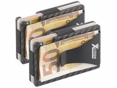 Deux étuis RFID en carbone de la marque XCase.