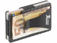 Étui RFID en carbone pour 15 cartes avec pince à billet