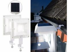 2 lampes solaires 6 LED pour clôture et gouttière