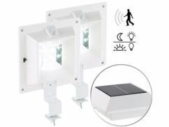 2 lampes solaires à LED pour gouttière 160 lm / 2 W avec capteur PIR - Blanc