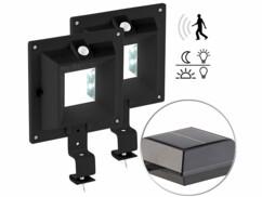 2 lampes solaires à LED pour gouttière 160 lm / 2 W avec capteur PIR - Noir
