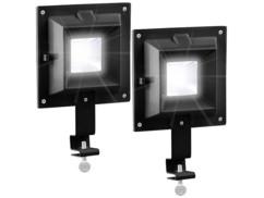 2 lampes solaires avec 6 LED SMD pour clôture et gouttière