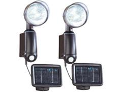 2 lampes solaires murales à détecteur de mouvement
