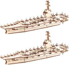 2 maquettes 3D en bois de porte-avions - 234 pièces
