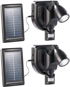 2 projecteurs d'extérieur noirs à LED solaire 3 W - noir