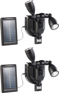 2 projecteurs extérieurs LED solaires 3 W - Double tête - noir