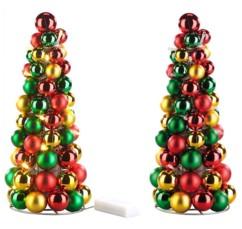2 pyramides de boules de Noël lumineuse Britesta.