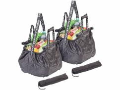 2 sacs de courses pliables 20 L avec clips de fixation et bandoulière