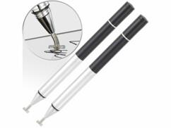 2 stylets tactiles avec croix de positionnement et stylo à bille