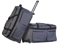 2 valises trolley pliables XXL avec poignée télescopique