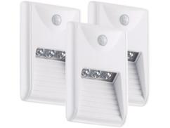 3 balises murales à LED pour escalier avec détecteur de mouvement - 0,18 W