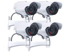 4 caméra de surveillance solaires factices avec signal LED