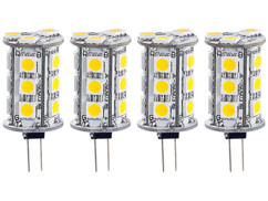 4 ampoules 18 LED SMD G4 blanc neutre
