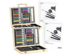 2 coffrets de dessin/peinture 67 pièces, avec 2 cahiers 30 pages 80g/m²