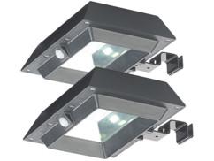 2 lampes solaires à LED 6 W pour mur et gouttière avec capteur PIR - Noir