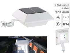 Lampe solaire à LED pour gouttière 160 lm / 2 W avec capteur PIR - Blanc