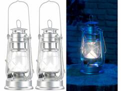 2 lampes tempêtes LED rechargeables avec variateur 200 lm/ 3W/ 8000K- Argent