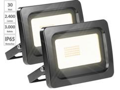 2 mini projecteurs LED 30 W résistant aux intempéries - Blanc chaud