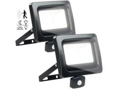 2 mini projecteurs étanches à LED 50 W / 4000 lm - Blanc jour