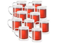 Set de 12 mugs en verre à double paroi