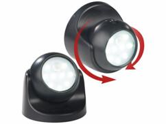 2 spots LED sans fil 2 W  s/ 360° avec capteurs de mouvement et d'obscurité