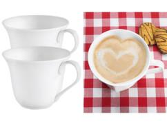 2 tasses en porcelaine en forme de cœur