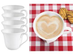 4 tasses en porcelaine en forme de cœur