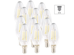 12 ampoules bougie LED E14 - 4 W - 470 lm - Blanc chaud