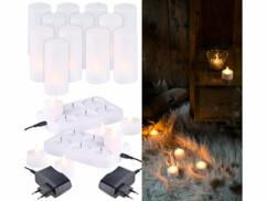 12 bougies plates à LED effet flamme scintillante