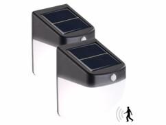 2 appliques murales solaires LED 1 W avec détecteur de mouvement