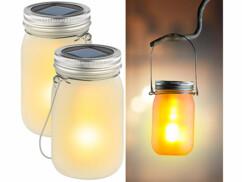 2 bocaux lumineux à LED solaires avec effet flamme