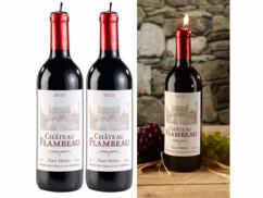 2 bougies décoratives design bouteille de vin - Grand modèle