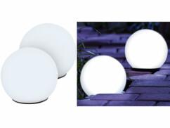 2 boules lumineuses à LED solaires Ø 9 cm