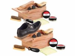 2 coffrets à cirage en bois de cèdre avec repose-pied intégré - Avec accessoires
