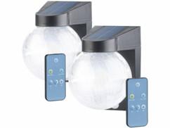 2 lampes murales solaires à LED en verre craquelé avec détecteurs de mouvement