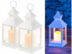 2 lanterne LED à piles effet flamme vacillante - Blanc
