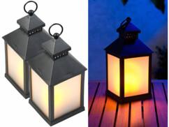 2 lanternes à LED effet flamme avec minuteur - Noir