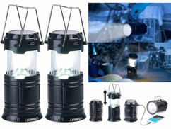 2 lanternes de camping solaires à LED 80 lm avec batteries de secours USB