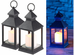2 lanternes LED à piles effet flamme vacillante - Noire