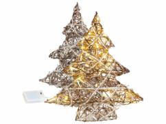 2 mini sapins de Noël décoratifs en osier avec LED