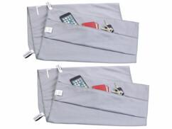 2 serviettes en microfibres avec poche intégrée - 80 x 200 cm