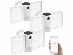 3 caméras de surveillance connectées IP Full HD avec projecteur LED FLK-100.app