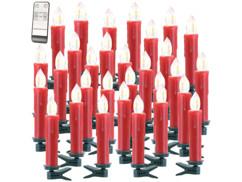 Lot de 30 bougies à LED rouges modèle XMS-35.r Lunartec.