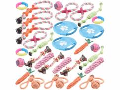 30 jouets en corde de coton et en caoutchouc pour les petits chiens